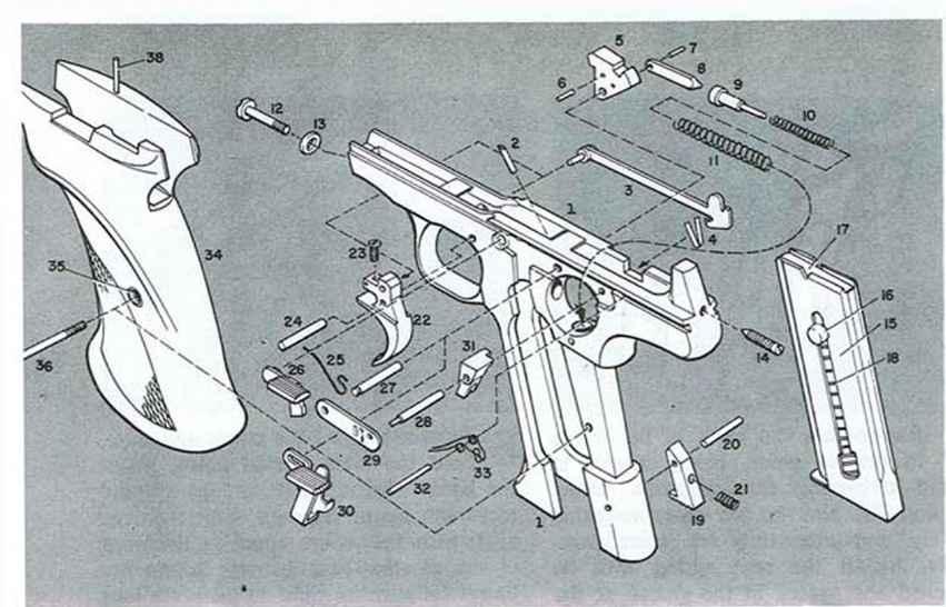 The Pistol Diagram Firearms Assembly Bev Fitchetts Guns Magazine