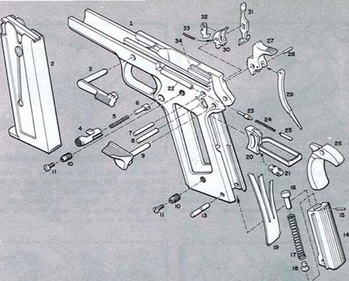 Pistol Full Parts Assembly Dimension