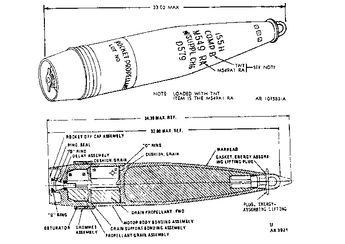 M549a1 Rocket Assisted Projectile