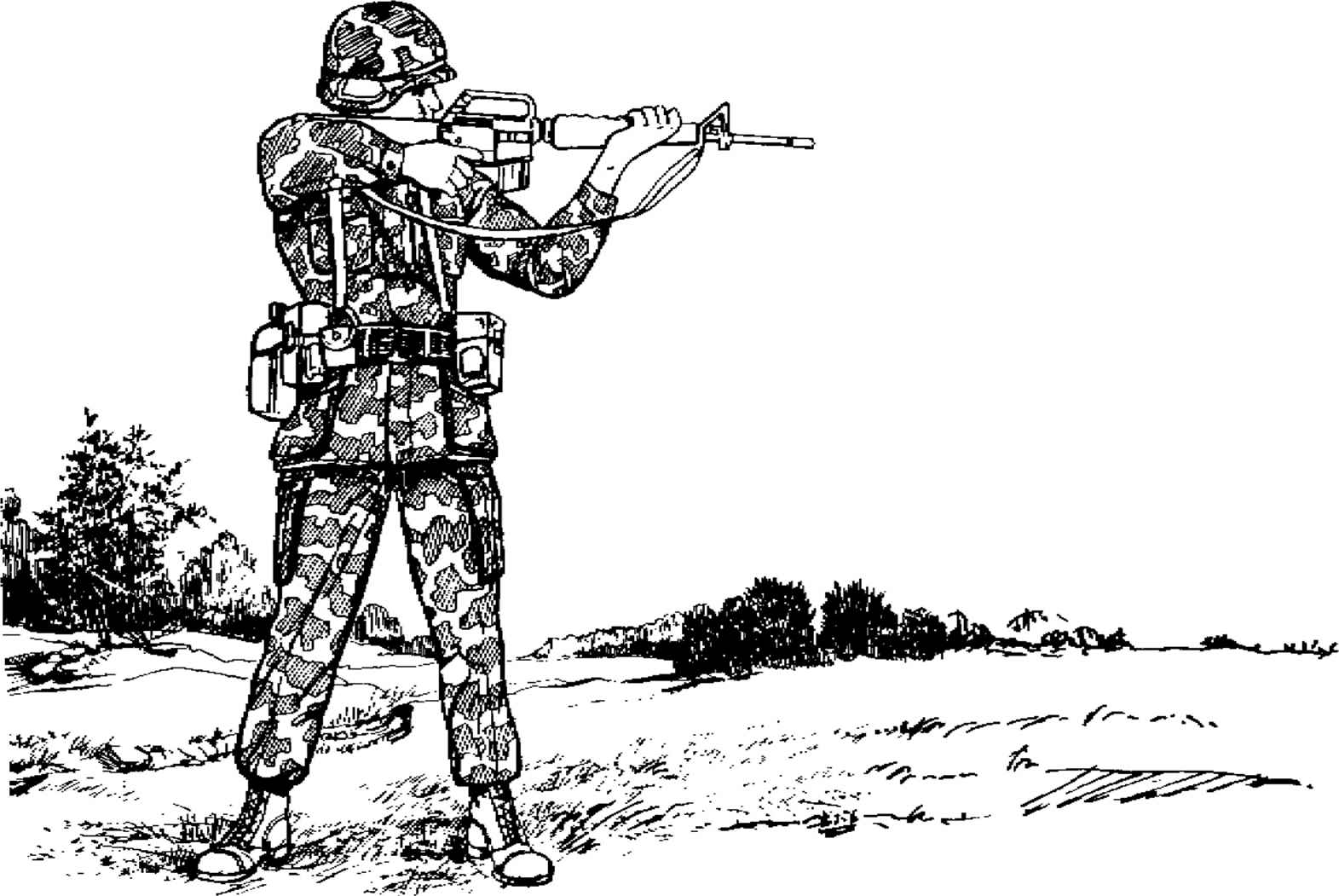 Soldier Standing Aiming Rifle Side