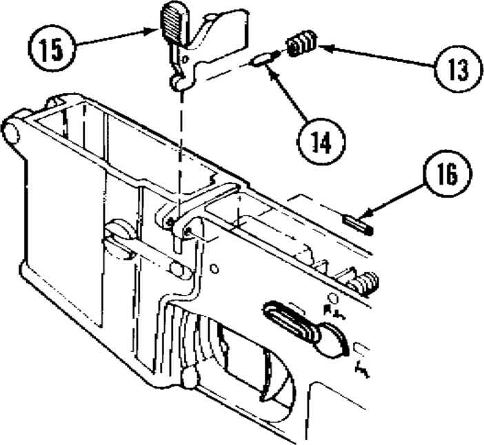 Lower Receiver And Extension Assembly Cont Sqq on m16 sear